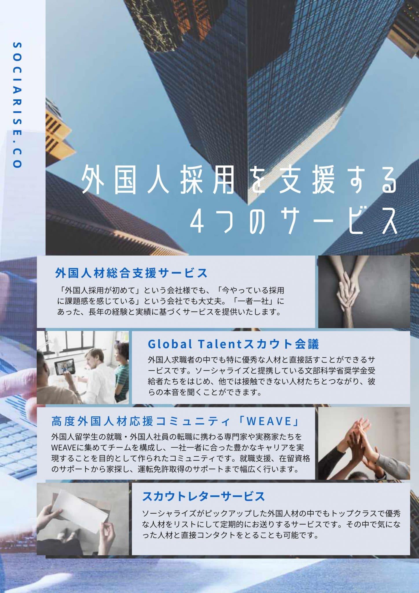外国人材採用を成功させる4つのサービス